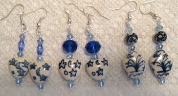 [Carolyn's blue and white earrings]