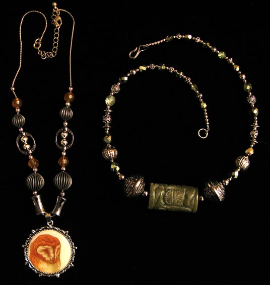 [Carolyn's owl and jade necklaces]